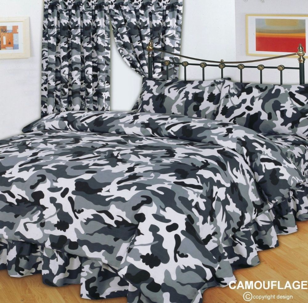 Reversible Duvet Set Grey & Black Army Military Camouflage Design Reversible